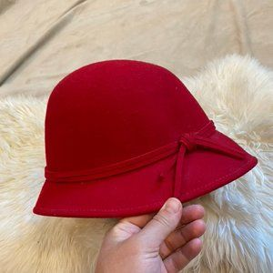 100% Wool Red Cloche Hat - Croft and Barrow